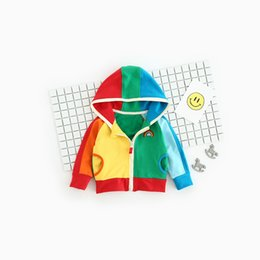 Wholesale Nice Baby Clothing - Children's Rainbow Hooded Baby Clothes Kid's Nice Hoodies