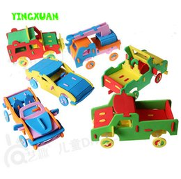 Wholesale Diy Toys Truck Car - Wholesale- 2016 hot 1 Piece Handicrafts EVA Car Truck Toy Children DIY Craft Kits Handmade Educational Toys 3-6years