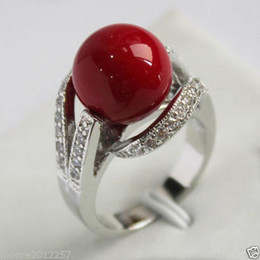 Wholesale Genuine Coral Jewelry - free shipping >Genuine Noblest green Shell pearl Crystal jade silver ring>Love & wedding jewelry charming cute Silver Wonderful Coral F
