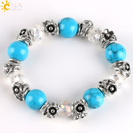 Wholesale Tibetan Brass Charms - CSJA Fashion Women Summer Jewelry Gift 8mm Blue Turquoise Stone Clear Glass Beaded Bracelet Flower Charms Tibetan Silver Plated Beads E440