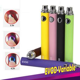 2019 vaporizzatore regolabile della batteria EVOD Batteria EVOD Variable Voltage 3.3V 3.7V 4.2V 650mAh 900mAh 1100mAh E-cigarettes Batteria regolabile 510 Thread Fit MT3 CE4 Vaporizzatore vaporizzatore regolabile della batteria economici