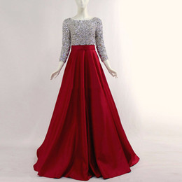 Wholesale Sexy Dress Ballgown - Real Photos Long Sleeves Arabic Ballgown Prom Dresses Hand Make Crystal Beaded Scoop Neck With Side Pockets Pageant Red Evening Gowns