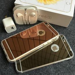 Iphone acrylique tpu noir en Ligne-miroir téléphone cas pour iphone 6 6s plus 5s galaxy LG coque rigide TPU Acrylique miroir boîtier en plastique rose or noir galvanisation GSZ042