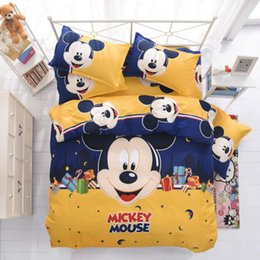 Wholesale Washable Mouse - New Bedding Cartoon Hello Kitty Mickey Mouse 4pcs Duvet Cover Sets Soft Polyester Bed Linen Flat Bed Sheet Set Pillowcase