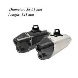 Wholesale Sticker Yamaha - Universal 345mm Motorcycle Carbon Fiber Exhaust Muffler Pipe Dual Tail Pipe With Removable DB Killer AK Stickers For Yamaha