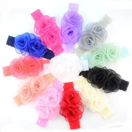 Wholesale Headbands Hair Nets - free shipping 25pcs lot New Baby Girls Lace Elastic Headband Flower and Yarns Nets Infant Toddler Girls Hair Band Hair Accessories FD226