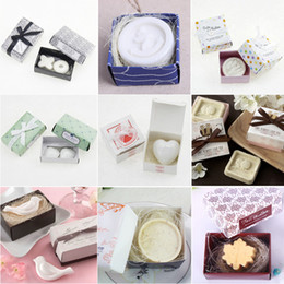 Wholesale Dove Baby Shower - 10pcs Soap Wedding Favors with Gift box Baby Shower Christmas Party Gift Anchor  Button  Shell  Dove  Maple Leaf
