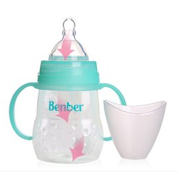 Wholesale Baby Product Bottle - Wholesale-Milk Water PP Baby Bottle Feeding Sippy Cup Bottle Nuk Infant Product Feeder Handle Kids Cup Infant Standard Caliber 170ml