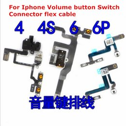 Wholesale Iphone 4s Off - Free shipping New Original Power Mute Volume Button Switch Connector On Off Flex Cable Ribbon Replacement for iPhone 4 4S 5 5S 6 6S 6 PLUS