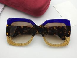 f6f61b783ff Mulheres Quadrado Azul   Havanna GG0083 S Óculos De Sol Azul Sparkle  Glitter Tortoise Designer Óculos De Sol Nova Marca com Caixa óculos de sol  quadrados de ...