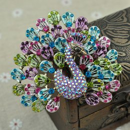 Wholesale Deco Brooch - Art Deco style Peacock mulit coloured rhinestone Silver tone brooch