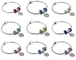 Wholesale Lucite Plastic Jewelry Pieces - Free shipping Burst full diamond heart-shaped jewelry zinc alloy large hole beads bracelet FB297 mix order 20 pieces a lot Charm Bracelets
