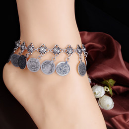 Wholesale Ethnic Anklets - Wholesale 20pcs Cheap Tribal Ethnic Silver Coin Tassel Gypsy Turkish Anklets Bracelet Jewelry