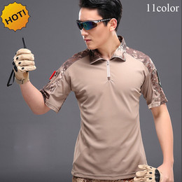 Wholesale Uniform Camp Shirts - New 2017 Summer Cargo Hiking Camp Tactical Army Military Soldiers Camouflage Short Sleeve Combat Uniform Quick Dry T Shirt Men Fitness Shirt