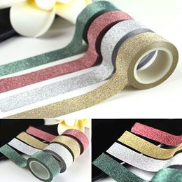 Wholesale Crafting Glitter - Wholesale- 2016 New 5M Glitter Washi Sticky Paper Masking Adhesive Tape Label DIY Craft Decor 4 Colors 1PWS 1V96 5W74 8CLU