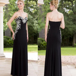 Wholesale Short Straight Dress Design - Sexy Straight Black Evening Dresses Sweetheart Off the Shoulder Satin Applique Crystal Backless Design Formal Prom Gowns