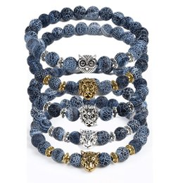 Wholesale Ceramic Owl Beads - 2017 New Style Leopard Tiger Eye Lion Head Bracelet Owl Buddha beads Bracelets Bangles Charm Natural Stone Bracelet yoga Jewelry Men Women