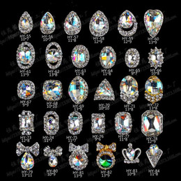 Wholesale Nail Art Jewelry Bows - 3D Nail Art Rhinestone Crystal Decorations Nail Tips Dangle Jewelry crown waterdrop heart bow shaped 20pcs lot free shipping