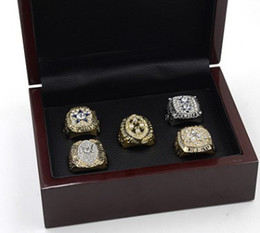 Wholesale Cow Rings - 5PCS With box Newest Men fashion sports jewelry 1971 1977 1992 1993 1995 Dallas Cow boys championship rings fans souvenir gift