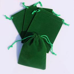 Wholesale Wholesale Small Velvet Bags - Wholesale-Wholesale 50pcs lot Green Velvet Bags 7x9cm Small Jewelry Charms Gift Packaging Bag Drawable Christmas Velvet Gift Bag Pouch