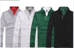 Wholesale Stand Up Collar Shirts - Wholesale-Men's England Style Stand-Up Collar Long Sleeve Slim Polo Shirts, Men Slim Fit Causal Polo Shirt ,ASIAN SIZE M-2XL ,
