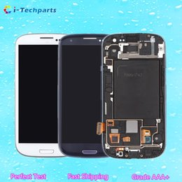 Wholesale Galaxy S3 Screen Digitizer Bluer - Original New for Samsung Galaxy S3 LCD Display Screen and Digitizer Touch Screen With Logo and Frame ,Blue White
