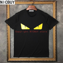 Wholesale Men Leather T Shirt - summer famous brand designer tag clothing men t-shirt yellow leather small eye europe paris tshirt women cotton funny tee tops