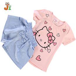 Wholesale Cute Sportswear - New 2017 Summer Hello Kitty Children Girls Sets Sportswear Set Baby Kids Clothes Cute T-shirt children clothing Shorts