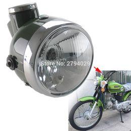 Wholesale Motorcycles Chopper - New Military Green Retro Headlight with Speedometer MPH Fits for Chopper Universal Motorcycle Custom Honda Yamaha Suzuki