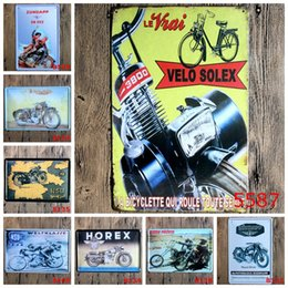 Wholesale Riders Cars - Zundapp Triumph Horex Rider Solex car motorcycle Vintage Craft Tin Sign Retro Metal Poster Bar Pub Signs Wall Art Sticker(Mixed designs)