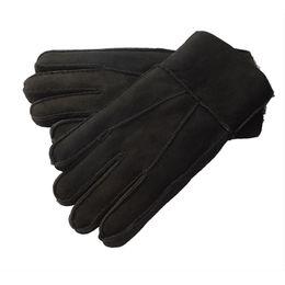 2019 меховые варежки Wholesale- Men Leather Sheepskin Mittens Gloves Fur Winter Warm Vintage Fashion New скидка меховые варежки