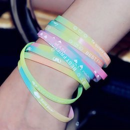 Wholesale Invisible Rubber - Charm GLOW IN THE DARK Luminous Silicone Rubber Wristband Wrist Band Bracelet - Randomly Send