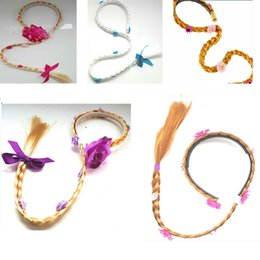 Wholesale multi color cosplay wigs - Rapunzel Tangled Cinderella Long Wig Hair Children Kids Cosplay Costume Princess Hair Sticks With Wig Accessories 6 Design HH-B24