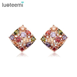 Wholesale Earrings Colorful Stones - LUOTEEMI Hot Sell Luxury Stud Brincos Colorful Earrings Zircon Stone Rose Gold-Color Earrings for Women Engagement Jewelry