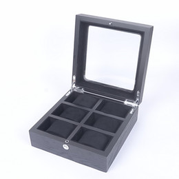 Wholesale Show Window - Wholesale Wood 6 Grids Square 21*20.5*8.5cm High Grade Quality Watch Storage Boxes&Cases Windows watch show box Watch Sales Display Boxes