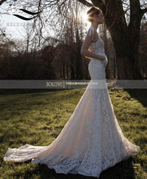 Wholesale Cheap Satin Shirts - Solovedress Long Train Real Photos White Lace Cheap Mermaid Sexy V Neck Wedding Dress 2017 Vintage Wedding Bridal Gown vestido De noiva 2017