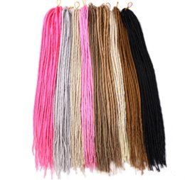 Wholesale Synthetic Hair Extensions White - 1 Pack 24strands Dreadlocks 20inch Synthetic Braiding Hair Extension Crochet Braids Hair White Pink Blonde Black Color