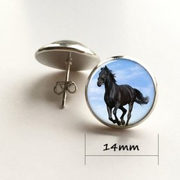 Wholesale Photo Earrings - Horse earring, large animal that Handsome appearance with black fur earring glass Photo Equine Jewelry earring