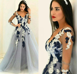 Wholesale Sexy Shirt Style - 2017 Arabic Evening Dresses V Neck Illusion Long Sleeves Prom Dress A Line Dubai Style Vestidos Pageant Dress Formal Gowns