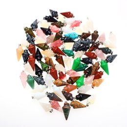 Wholesale Wholesale Stone Beads Mixed - Wholesale 20pcs Beautiful Carved Pendulum Mixed Gemstone Silver plated Pendant Bead Fit Necklace Woman Gift Jewelry
