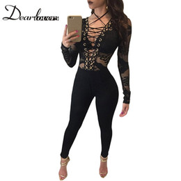 Wholesale Dear Party - Wholesale- Dear lovers Sexy Club Jumpsuit Autumn Black Lace-up Hollow-out Bodysuit Long Sleeves Party Overalls For Women LC64115