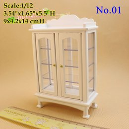 Wholesale Cabin Doll House - 1 12 Scale Dollhouse Miniature Living Room Furniture China Cabinet White Furniture  Doll house Room Display Cabin Decor Doll Houses Toy Gift