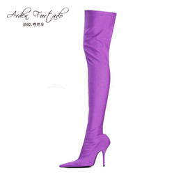Wholesale Pink Thigh High Boots - 2017 summer autumn lady high heels Stretch Fabric over the knee boots green purple sexy shoes women Stiletto heel thigh high boots woman