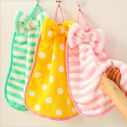 Wholesale Thick Kitchen Towels - 2016 Towel Sweet bow hanging towel Thick coral velvet cloth kitchen Absorbent towel not afford velvet