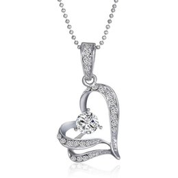 Wholesale Swarovski Crystal Necklace Heart - Pendant Necklaces statement Jewelry women party necklaces Chains Swarovski Crystal Silver Love Heart Leaves Pendant Chain For Wedding Bridal