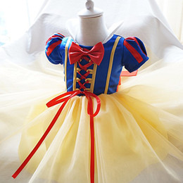 Wholesale Wholesale Dress Up Tutu - Wholesale- Fancy Princess Snow White Girl Dresses Cosplay Costumes Dress Up Baby Tutu Dress Kids Party Theme Wear 1 2 Year Birthday Dress