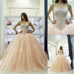 Wholesale Pretty Ball Gown Prom Dresses - Pretty Light Pink Puffy Princess Ball Gowns Quinceanera Dresses Crystals Beading 2017 Sweetheart Elegant 15 Ans Sweet 16 Prom Party Dresses