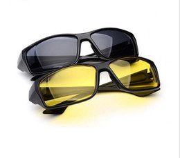 Wholesale Night Vision Car Driving Glasses - Unisex HD Fashion Yellow Lenses Sunglasses Night Vision Goggles Car Driving Driver Glasses Eyewear UV Protection 10pcs lot Free Shippingg