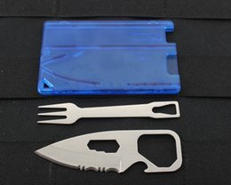 Wholesale Credit Knife Tool - Mini Multi-function Credit Card Tool 6 IN 1 Stainless Steel Knife& Fork with ABS case for Outdoor Camping Travel Survial EDC Tool