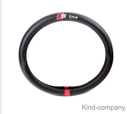 Wholesale Carbon Race - 1pcs black sline performance power racing Carbon fiber Sport Car Steering Wheel Cover With Size M 38cm free shipping